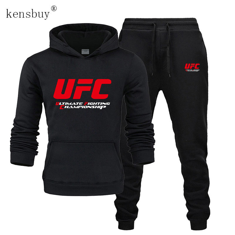 Men Track Suit Fashion Hoodies+ Joggers Pants Men UFC Pattern Print Set Ultimate Fighting Championship Sportswear Autumn Winter