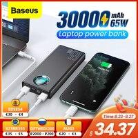 Cargador de batería externa portátil Baseus 65W 30000mAh USB C PD carga rápida 30000 para iPhone Xiaomi Laptop