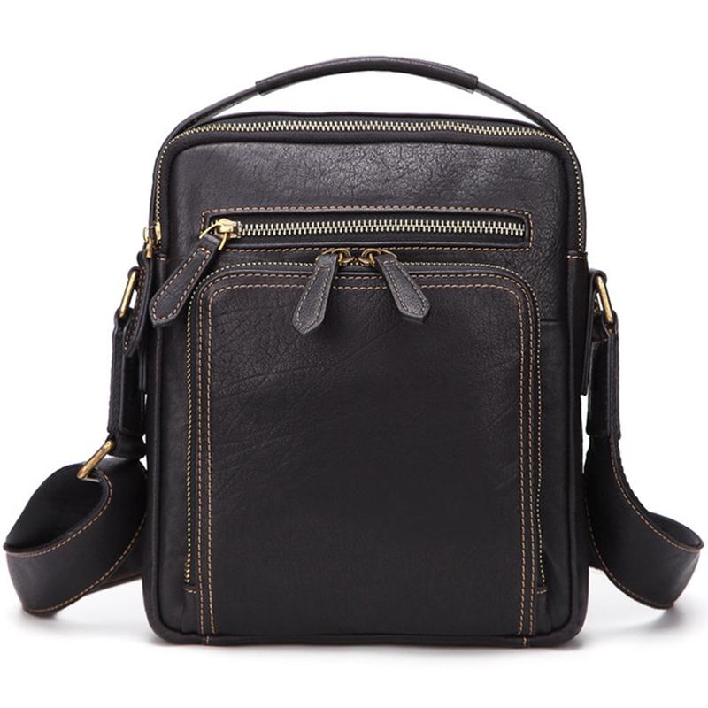 ABZC-Men Bag Shoulder Crossbody Genuine Leather Messenger Bag Retro Small Male Pack Back Flap Business Travel Handbags Gift