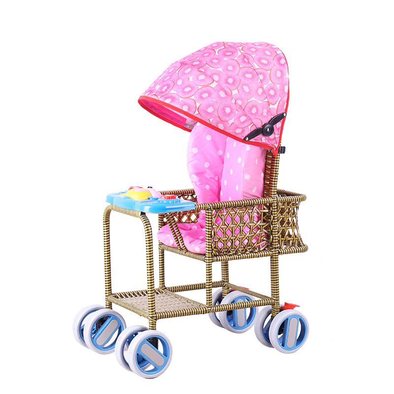 Baby Stroller Portable Bamboo Rattan Chair Rattan Dining Chair Bamboo Rattan Weaving Children Can Sit Baby Trolley