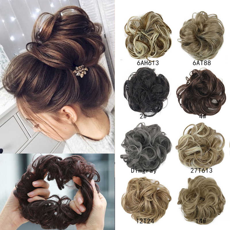 Messy Bun Hair Extension Lady Wig Women Donut Hairpieces Party Fancy Dress Short Water Wave Synthetic Hair Heat Resistant Fiber