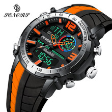 Senors Digital Watch Pria Olahraga Jam Tangan Fashion Tampilan Ganda Pria Tahan Air LED Digital Watch Pria Militer Clock Relogio(China)