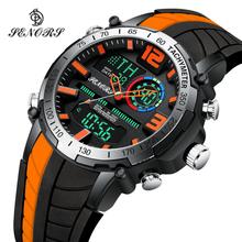 Senors cyfrowy zegarek mężczyźni sport zegarki moda podwójny wyświetlacz męski wodoodporny LED cyfrowy zegarek człowiek zegarek wojskowy Relogio tanie tanio Ze stopu CN (pochodzenie) 24cm 3Bar Moda casual Klamra ROUND 24mm 15mm Hardlex Podświetlenie Auto data Kompletna kalendarz