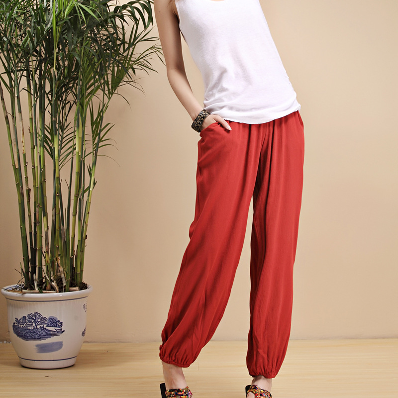 Women Sweatpants Linen Quickly Dry Loose Harem Hippie Yoga Pant Bloomers Baggy Casual Jogger Running Workout Gym Pant Activewear in Yoga Pants from Sports Entertainment