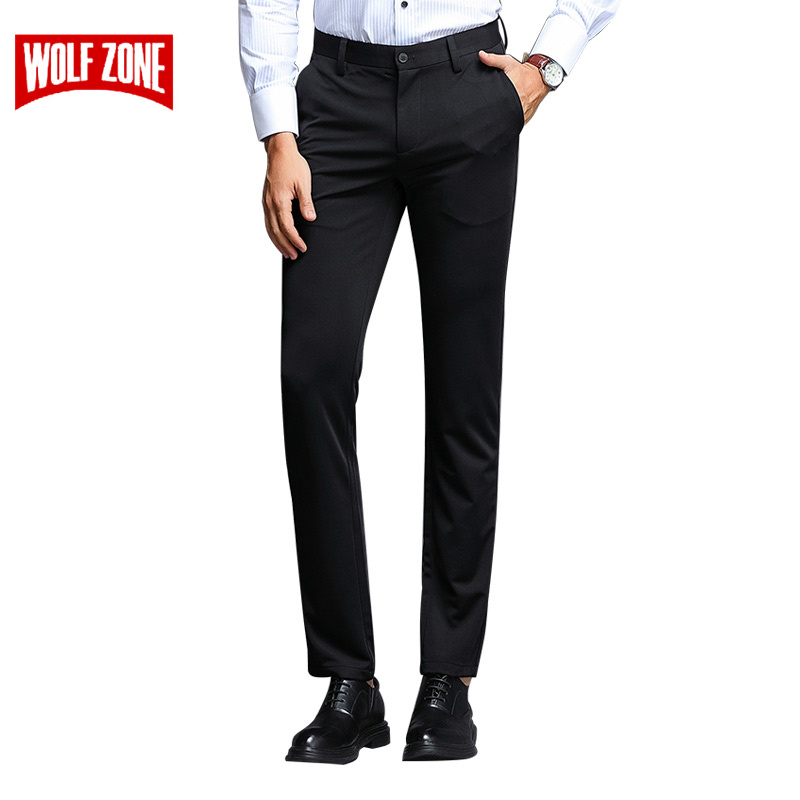 Spring Summer Fashions Mens Pants High Quality Brand Business Casual Black Blue Stretch Slim Fit Trousers Men Big Size 29-40