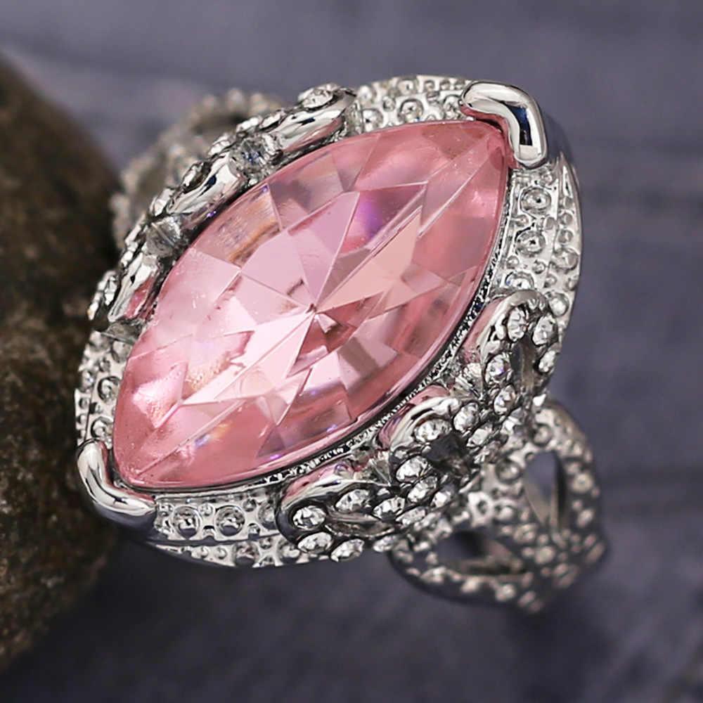 แหวนเงิน 925 แหวนเพชร Rose golden หยกคริสตัลสีชมพู Alec สีขาวเพชรกลวงออกแบบวันวาเลนไทน์ H015