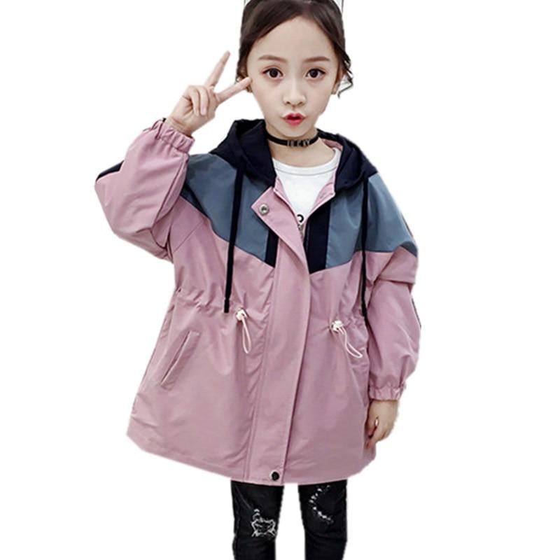 New Arrivals Children Girls Patchwork Trench Coat Hoodie Jacket Vintage Kids Autumn Windbreaker Jacket for Girl Elegant Clothing