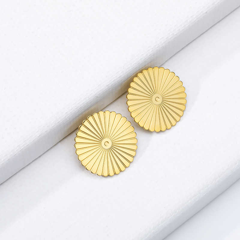 Decompression ทองสีเหรียญต่างหูของขวัญวันวาเลนไทน์ชุบต่างหูวงกลมชายหูเจาะเครื่องประดับ Brincos