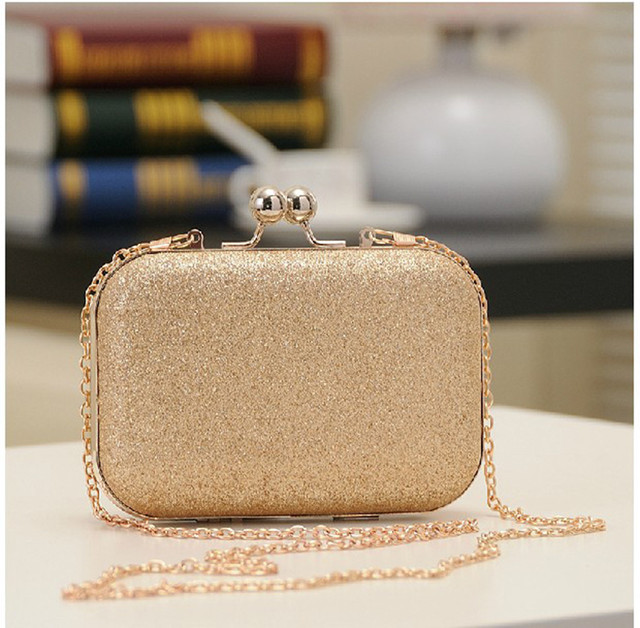 Women's Bling Evening Party Handbag Wedding Ball Clutch Bag With Chain Mini Minaudiere Hand Bag Purse Gold Birthday Gift