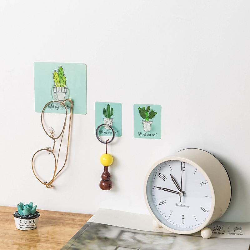 Decorative Hooks Cute cartoon Cactus Kitchen  Multi Use Adhesive Hook Waterproof Hanger Bathroom 5 pcs /set