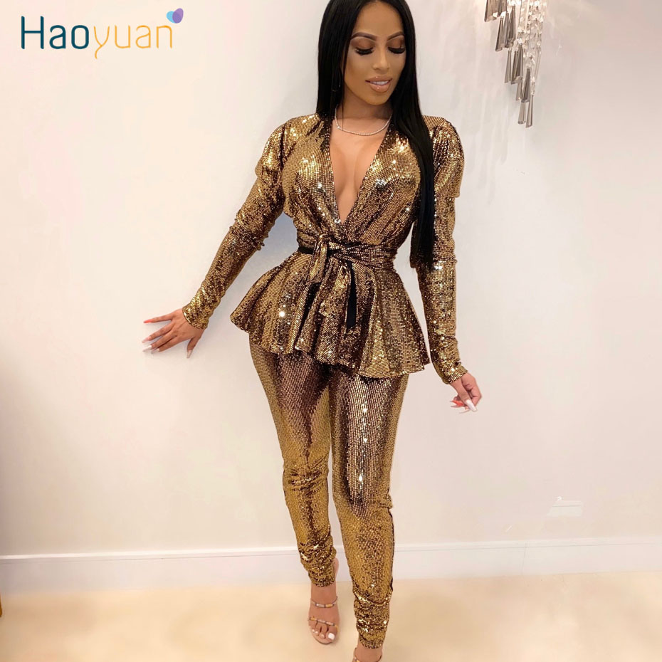 HAOYUAN Sexy Sequin Two Piece Set Fashion Clothes Top And Pant Bodycon Matching Suits Glitter Club Birthday Outfits For Women
