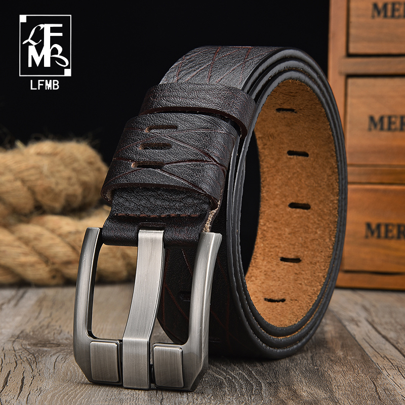 [LFMB]dropshipping Famous Brand Pin Buckle Genuine Leather Fashion Cow Leather Male Strap Men Belt  For Men 3.8cm Width