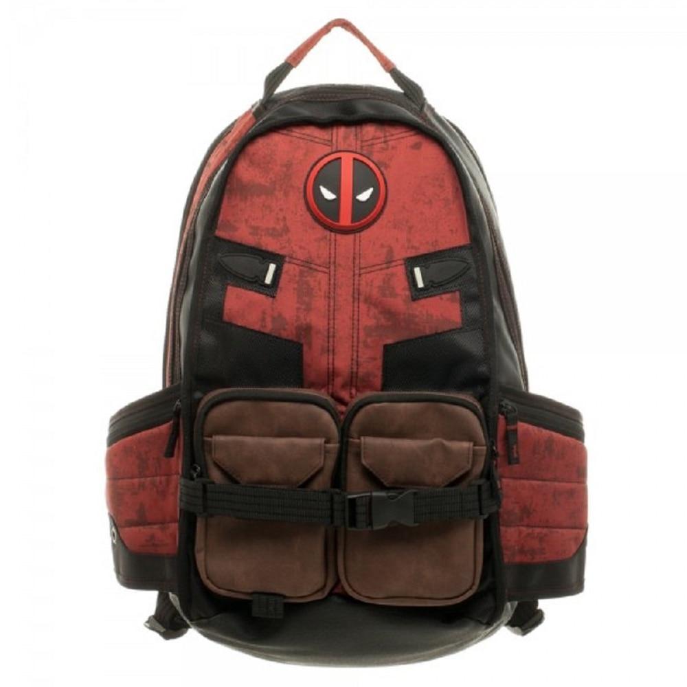 Mochila escolar Deadpool de Marvel Comics superhéroe película guerra Civil Capitán América mochila escolar de viaje para ordenador portátil - 2