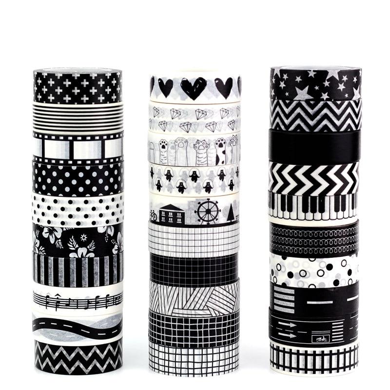 Mix 10pcs/lot Decorative Black White Washi Tapes Paper DIY Scrapbooking Planner Adhesive Leaves Masking Tapes Kawaii Stationery