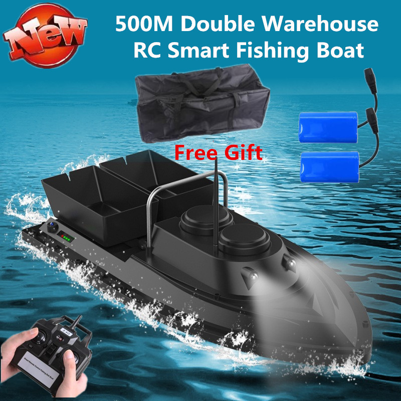 Free Bag Extra Battery Intelligent Wireless Control Double Hopper Bait Boat 500M 5 Level Wind RC Remote Control Fishing Boat image