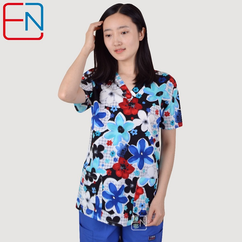 Hennar Women Scrub Uniforms In 100% Cotton Stretchy Fabric With Size Xxs-3xl Floral Prints Women Scrub Tops