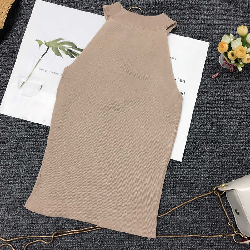 Spring Summer Women Slim Knitting Off-shoulder Tank Crop Tops Female Knitted Camisole Cropped Sleeveless Short T-shirts Tees