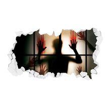 3D Hole View Halloween Scary Wall Sticker Mural Poster Halloween Wall Sticker scary ghost 3d broken wall art sticker