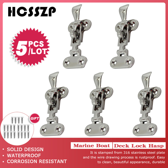 HCSSZP 5 Pcs Marine Boat Deck Lock Hasp 316 Stainless Steel Lockable Hold Down Clamp Anti Rattle Latch Fastener