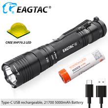 EAGTAC T25V LED Flashlight USB-C USB Rechargeable 21700 5000mAh Battery Power Bank Momentory On XHP70.2 3200 Lm Tactical Torch