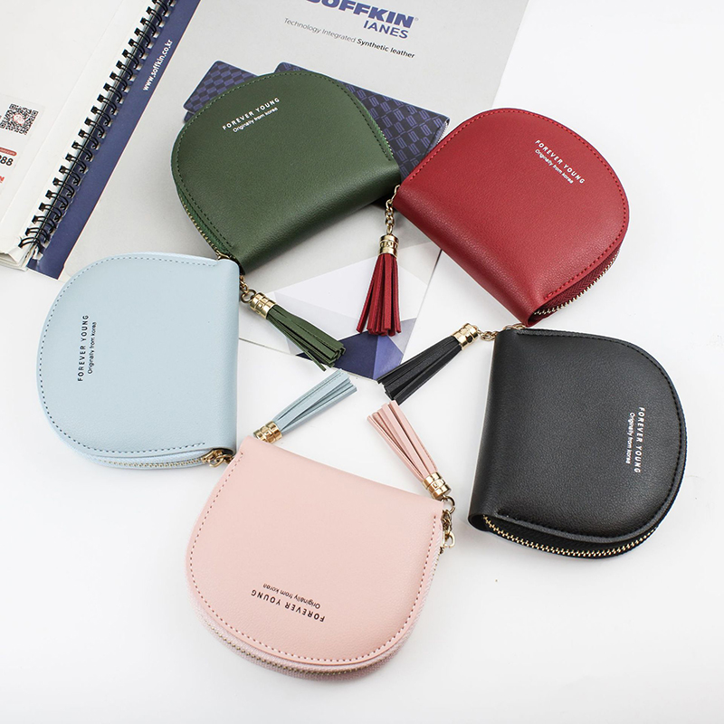 PU Tassel Coin Purses Women Wallet Small Cute Credit Card Holder Key Money Bags For Ladies Purse Kids Children Zipper Pouch