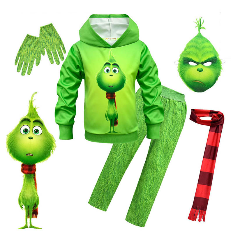 Kids Clothes Mardi Gras Green The Grinch Funny Carnival Costumes Set Boys Halloween Cosplay Costume Party Grinch Kids Clothing