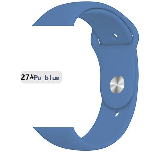 Ремешок для apple watch band 44 мм/40 мм iwatch band 5 4 42 мм 38 мм correa pulseira watch band для apple watch 5 4 3 браслет 44 мм - Цвет ремешка: pu blue 27