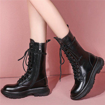 2020 Platform Creepers Women Lace Up Genuine Leather Ankle Boots Female High Top Round Toe Oxfords Shoes Knitting Casual Shoes shidiweike new women platform oxfords brogue flats shoes suede leather lace up square toe luxury brand red black creepers b490