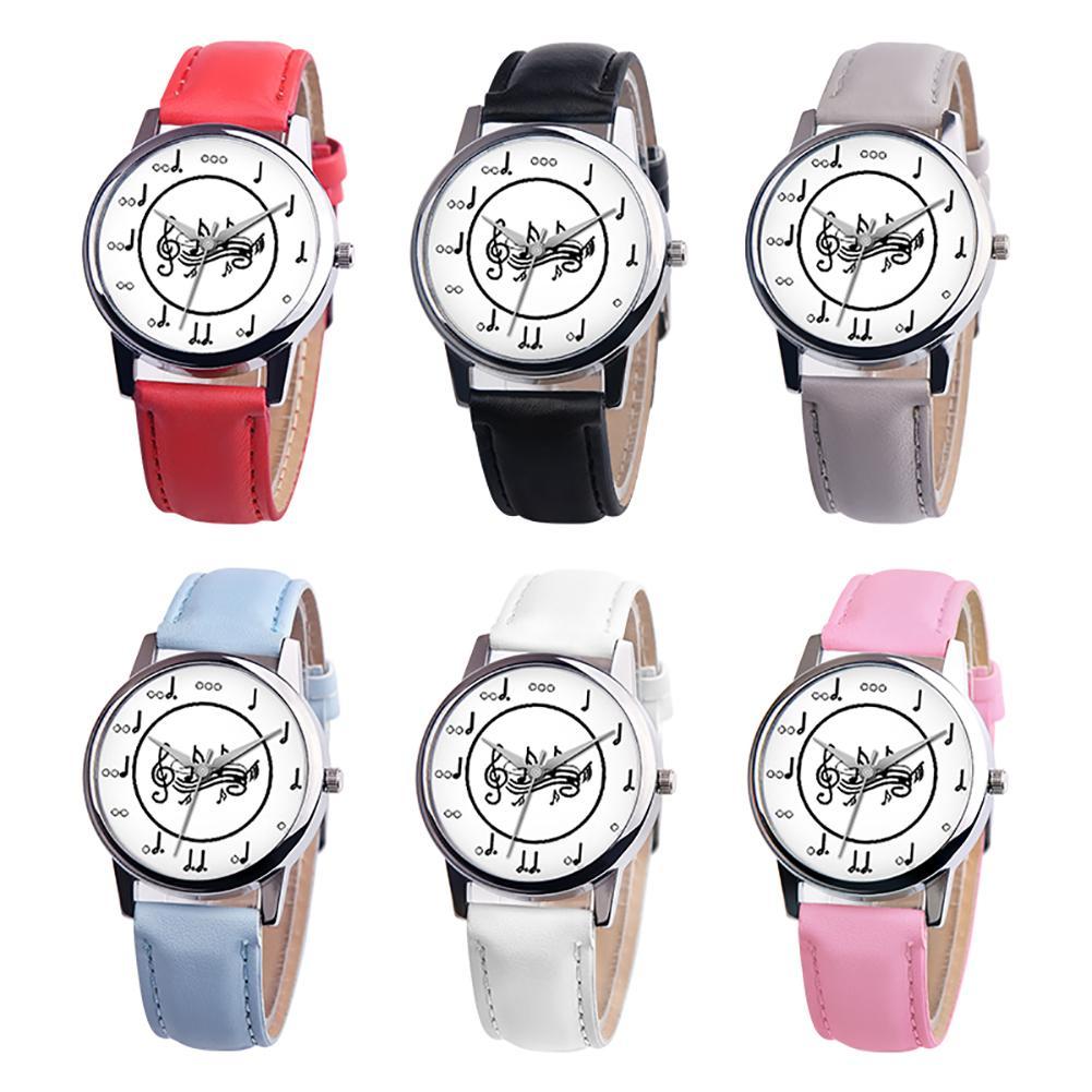Fashion Music Note Analog Round Dial Faux Leather Band Unisex Quartz Wrist Watch Clock Women Horloge Dames Fashion Watch For Lov