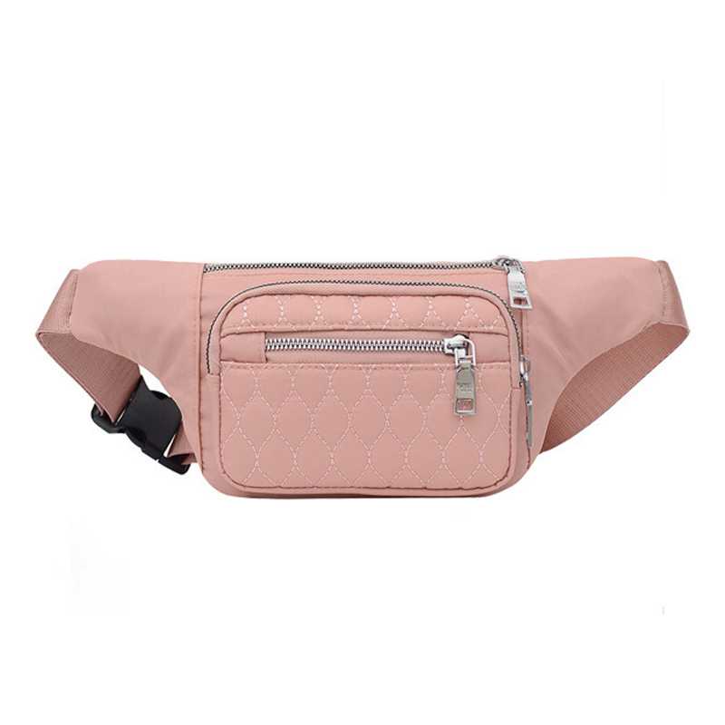 Casual Waist Bag for Women Waterproof Nylon Fanny Pack Phone Pouch Chest Packs Ladies Wide Strap Belt Bag Female Crossbody Flap