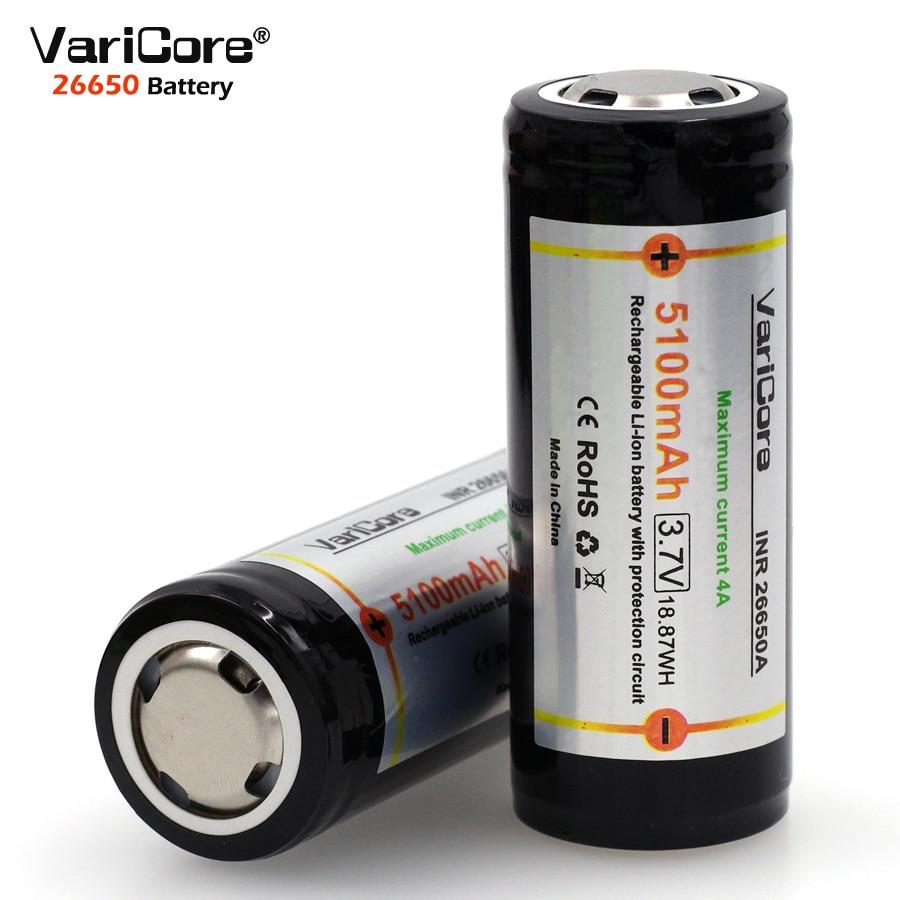 Литиевая батарея VariCore, 26650, 3,7 в, 26650, 5100 мАч, 4 а, защитная плата, аккумулятор для подсветки вспышки