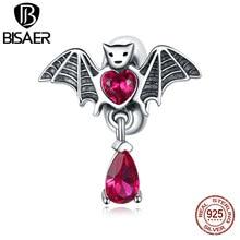 Bisaer-abalorios de plata de ley 925 auténtica de murciélago para mujer, pulsera artesanal, joyería de plata, regalo ECC1779