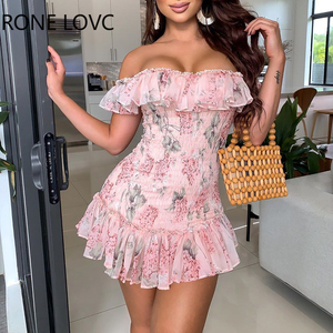 Women Sexy Floral Print Ruffles Off Shoulder Shirring Dress Party Dress Elegant Fashion Chic Dress