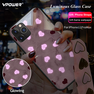 Image 4 - حافظة هاتف من الزجاج المقسى مضيئة للبنات مطبوع عليها نجوم وردية + غطاء زجاجي لهاتف آيفون 11 برو ماكس XS Max XR XS X غطاء يونيكورن