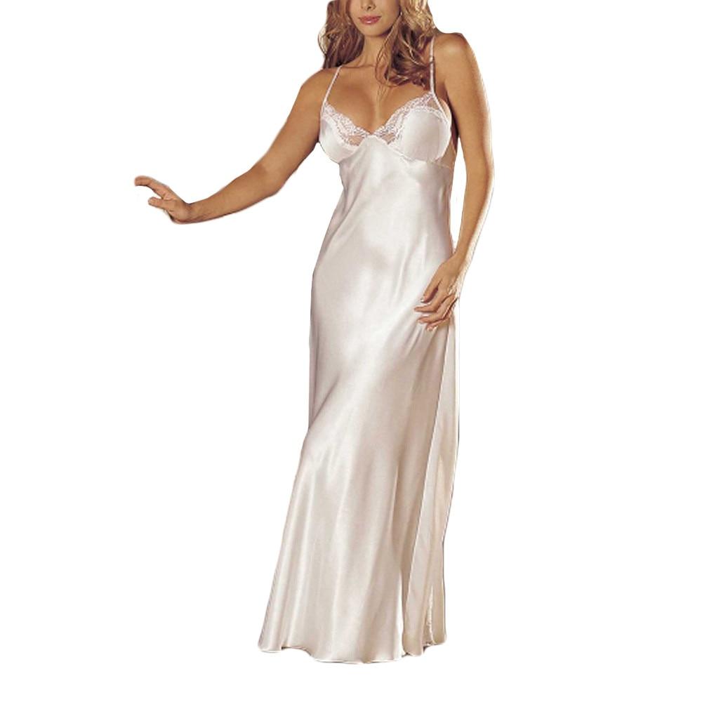 Sexy Summer Slip Dress Lace Home 1pc Robe Bathwear Women Casual Sleepwear Long Nightgown Sleepingwear Silk Sleepwear Hot 2019