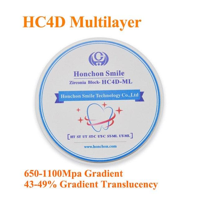 1 pièce HONCHON 4D zircone multicouche, 650-1100Mpa dans un disque 98*12/14/16mm