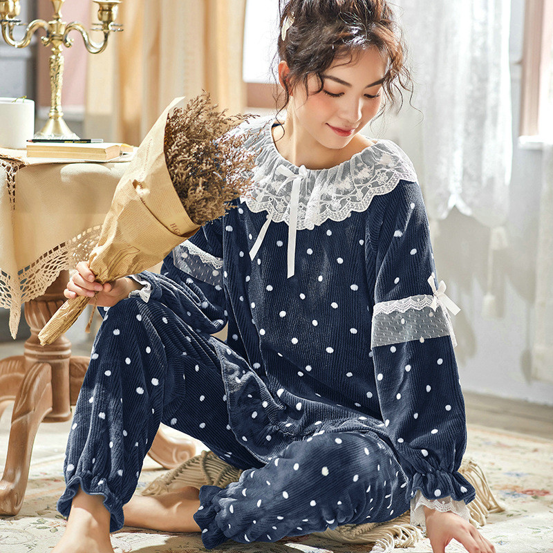 JULY'S SONG Women Cute Thick Flannel Pajama Sets Sleepwear Wave Autumn Winter Lace Pajamas Warm 2 Pieces Pajamas Homewear Suit 29