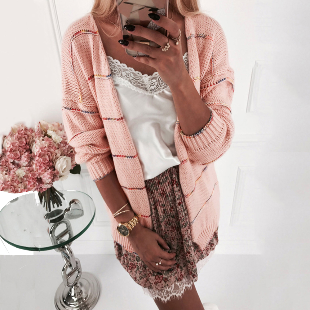 Elegant Knitted Women Cardigan Coat For Streetwear Striped V-Neck Long Sleeve Casual Pink Gray White Female Tops Slim Sweaters