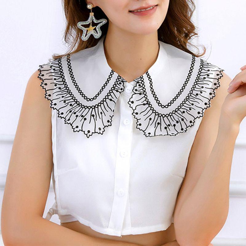 Women Blouse Sweater Decorative Lapel Fake Collar Polka Dot Embroidery Lace Chiffon Detachable Half Shirt Tie Button Apparel