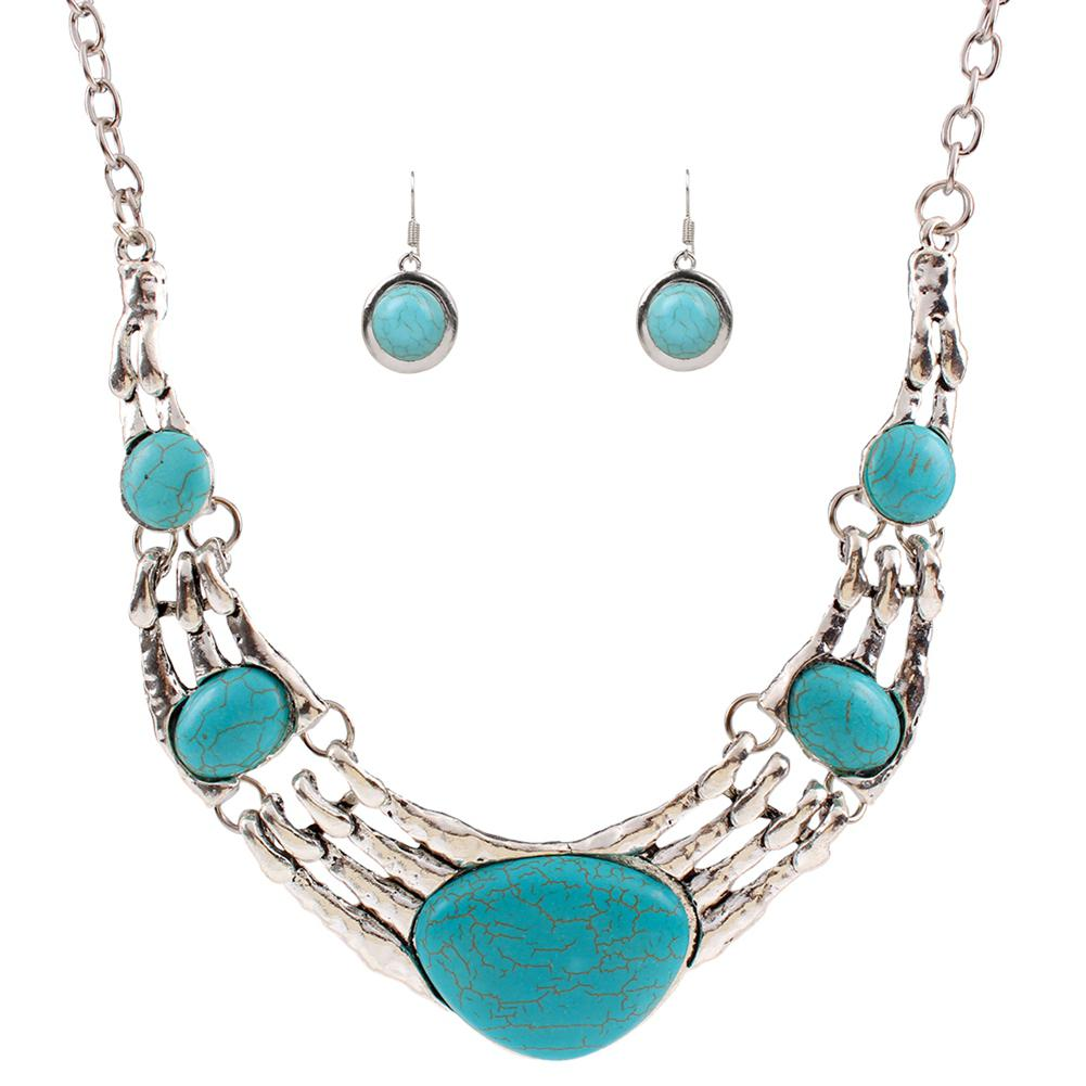 Gprince European Retro Vintage Pattern Oval Turquois Necklace Earrings Jewelry Set