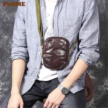 PNDME fashion vintage genuine leather men's small shoulder bag casual simple cowhide teens daily light mini phone crossbody bags