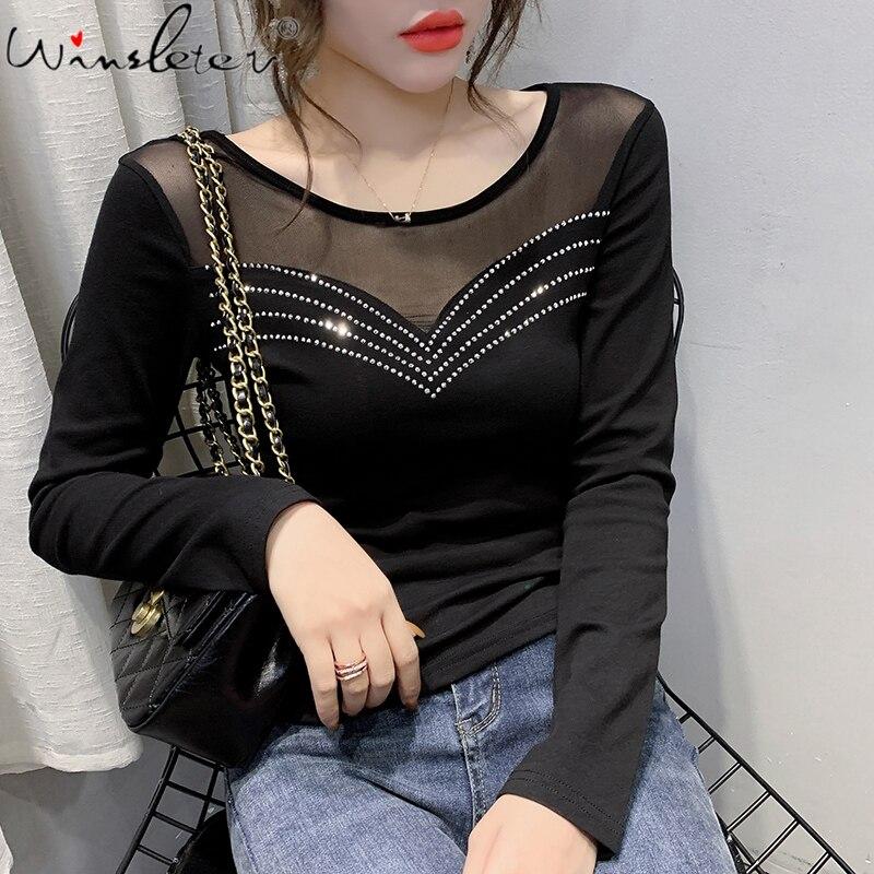 Spring 2020 Black T Shirt Mesh Patchwork Transparent Tops Women Long Sleeve Diamonds Slim Female Tee Shirt футболка T02603B
