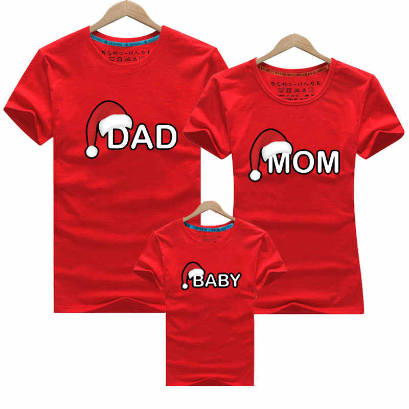 CYSINCOS Family Look T-shirt Clothing Suit Red Cartoon Printed Parent-child Tops Cute Summer Dad Mom Baby Family Matching Outfit