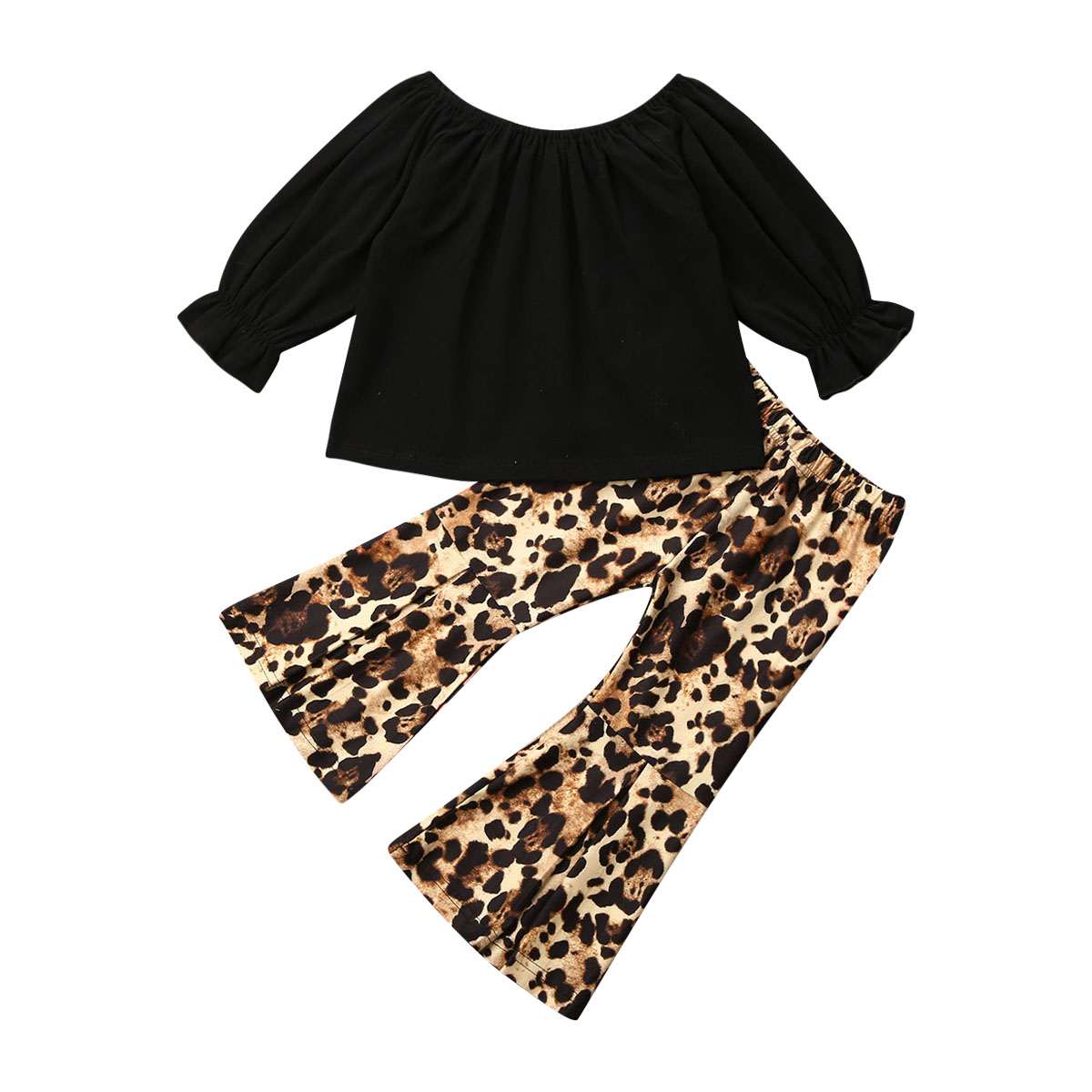 1-6Y Leopard Toddler Baby Kid Baby Girl Clothing Set Long Sleeve Ruffle Tops T-shirt Flared Pants Black Outfit Autumn Spring Set
