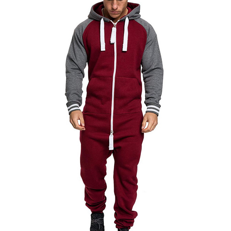 Mens Overalls Brand Long Sleeve Sweatshirt One-piece Garment Pajama Casual Tracksuit Jumpsuit Splicing Long Sleeve Male Clothes