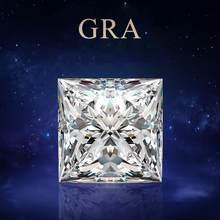Szjinao-GEMA suelta de 100% Real, Diamante de moissanita, 2ct, Color D, VVS1, 7mm, corte princesa, GRA, moissanita para joyas anillo de diamante