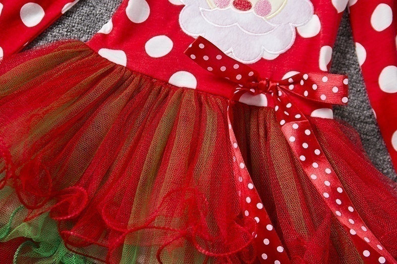 H78681c7f06b54de89e32099ca1896ef5e New Year Baby Girl Christmas Dress Girl's Merry Christmas Dress Children Kids Cotton Dot Dress Girls Tutu Santa Clus Costume