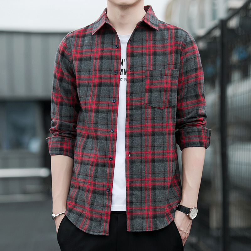 Red And Black Plaid Shirt Men Shirts 2020 New Summer Fashion Chemise Homme Mens Checkered Shirts Long Sleeve Shirt Men Blouse