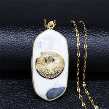 AFAWA White Natural Stone Stainless Steel Tree of Life Necklace for Women Jewelry cadenas de acero inoxidable para mujer NB13S04 summer mermaid stainless steel long necklace men women silver color necklace jewelry collar acero inoxidable mujer nzz5s03