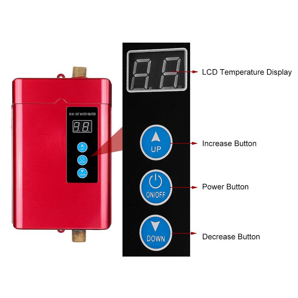 НОВЫЙ 4000 Вт Электрический водонагреватель мгновенный безрезервуарный водонагреватель 220 В 4 кВт температурный дисплей Подогрев душа Kichen
